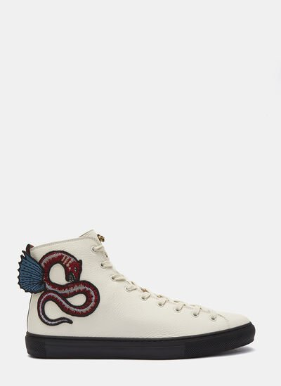 Serpent Embroidered High-Top Sneakers