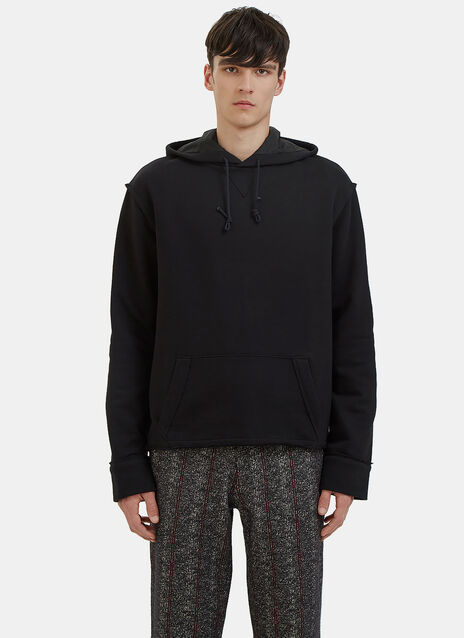 Pinstripe Patch Hooded Sweater