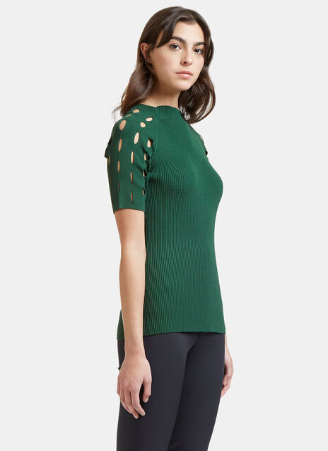 Ribbed Laser-Cut Mock Neck Top