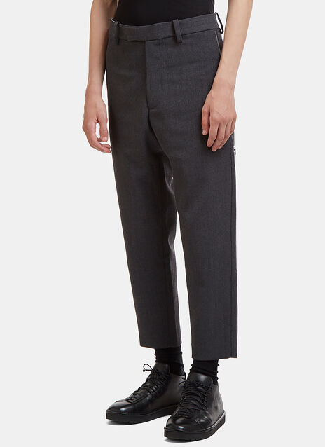 Cropped Zip-Up Twill Pants