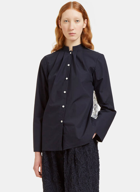 Lace Back Band Collared Shirt