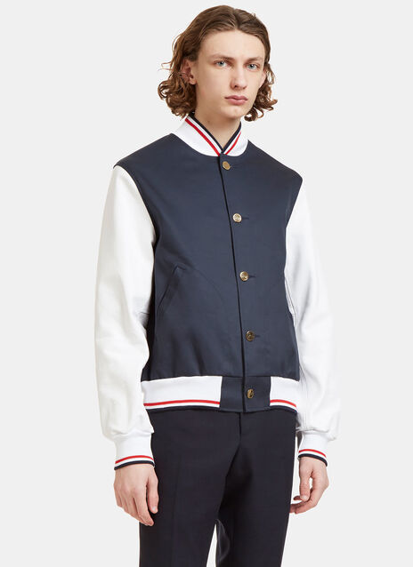 Leather Sleeved Varsity Bomber Jacket