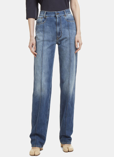 Faded Piped Denim Jeans