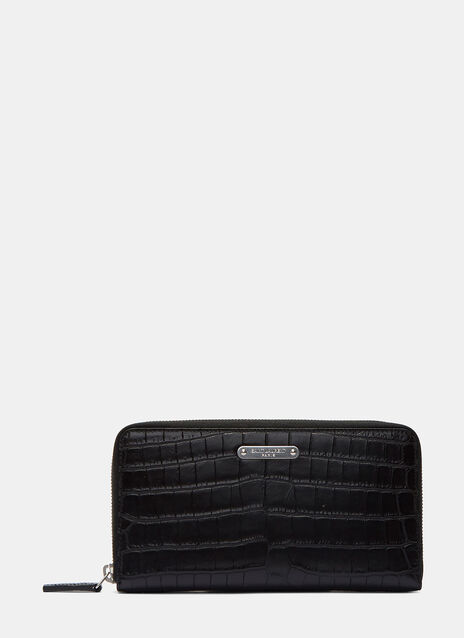 ID Faux Crocodile Embossed Zip-Around Wallet