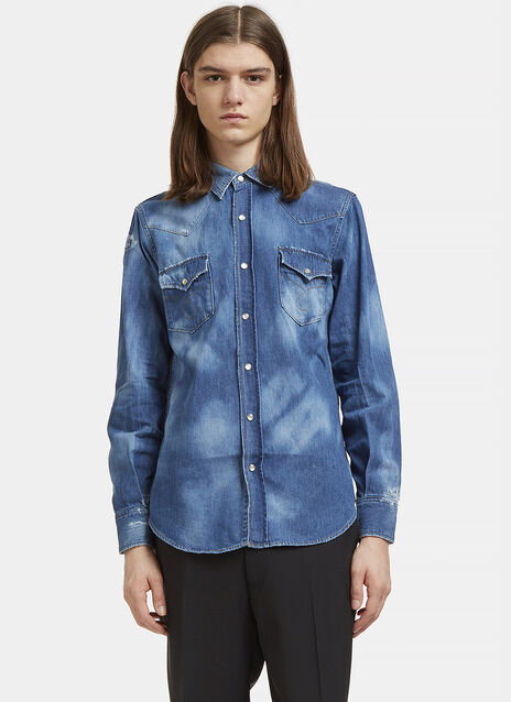 Repaired Western Bleached Denim Shirt