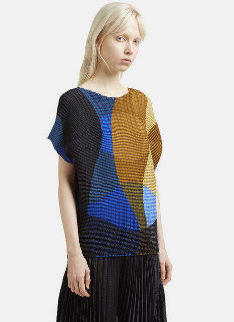 Issey Miyake Leaf Transfer Boat Neck Top