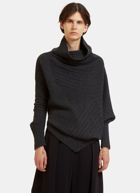 Oversized Asymmetric Roll Neck Ribbed Sweater