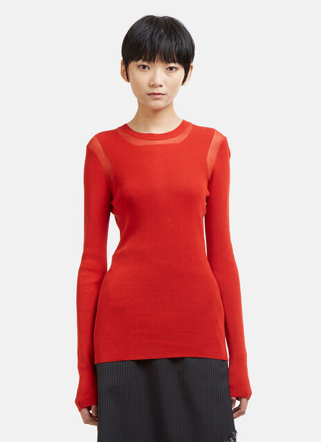 Maison Margiela Long Sleeve Shoulder Patch Knit Sweater