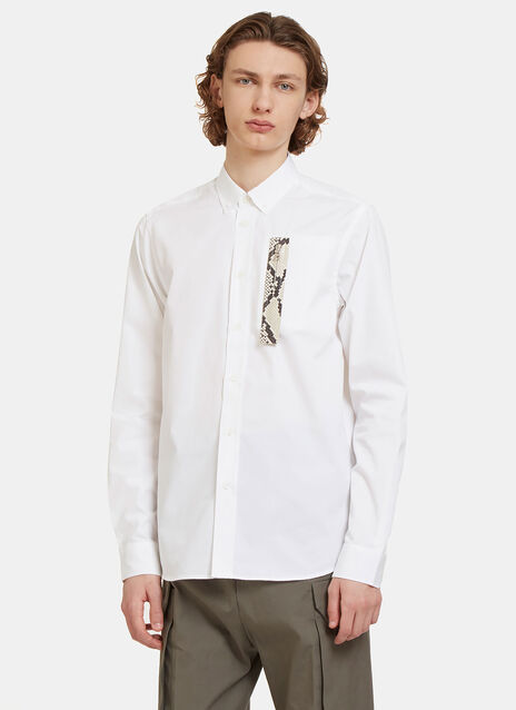 Faux Snakeskin Trimmed Pocket Shirt