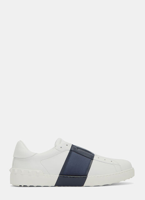 Contrast Grosgrain Panel Stud Slip-On Sneakers