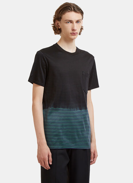 Dip-Dye Striped Patch Pocket T-Shirt