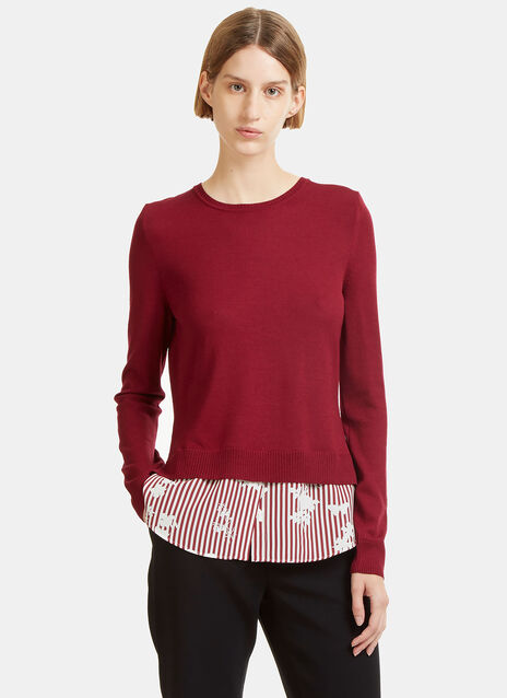Walkaloosa Striped Print Crew Neck Sweater