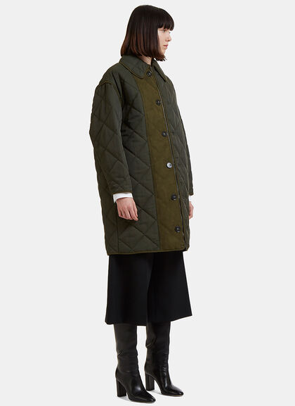 Image of Faux Suede Panelled Quilted Coat