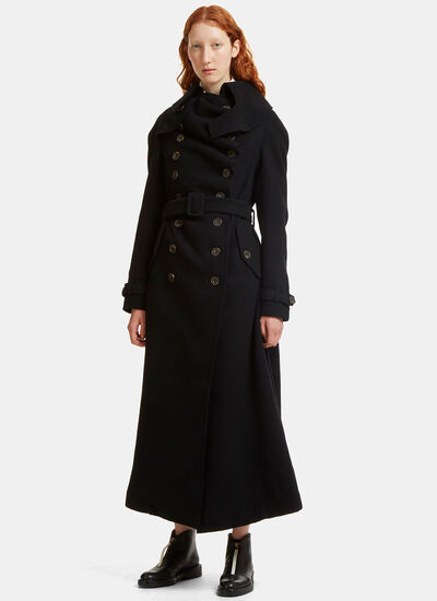 Ruched Buttoned Trench Coat