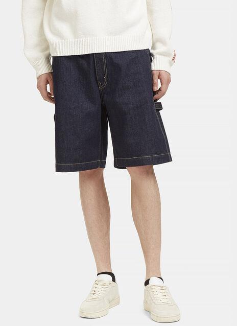 Contrast Stitch Denim Shorts