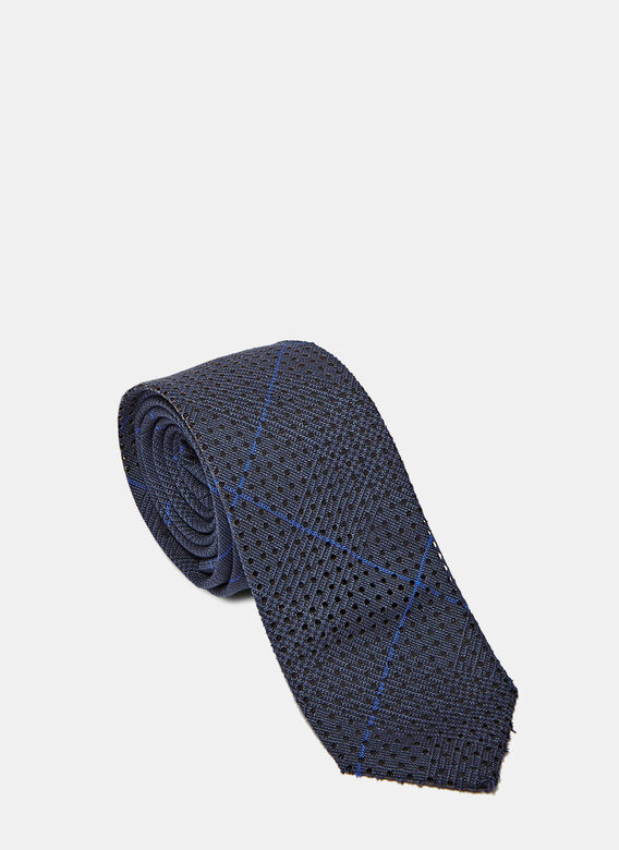 Oamc Perforated Tie, Glen Plaid Navy
