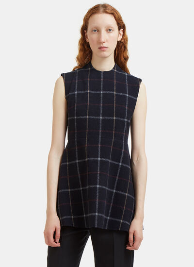 A.W.A.K.E Flared Felted Plaid Vest Top