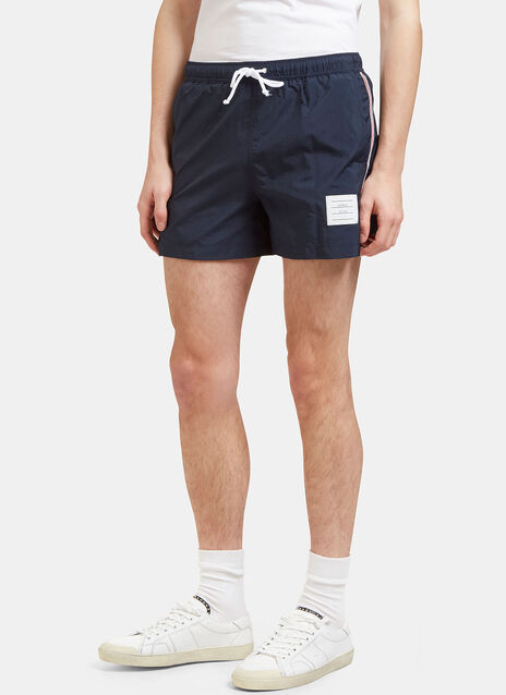 Striped Grosgrain Trimmed Swim Shorts