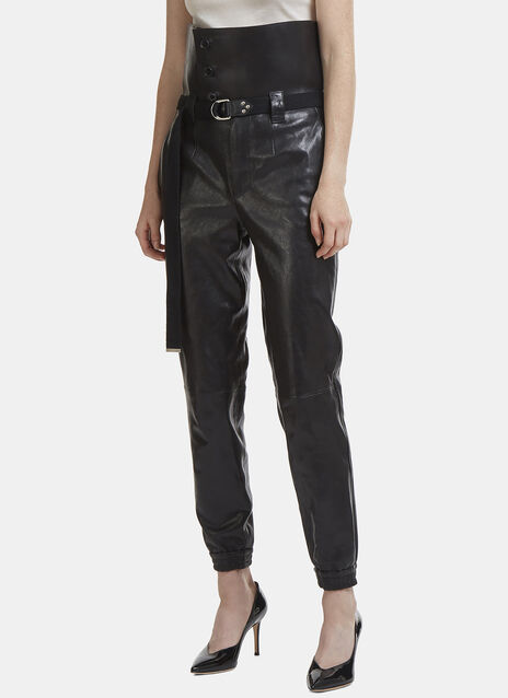 Saint Laurent High-Waisted Elasticated Cuff Leather Pants