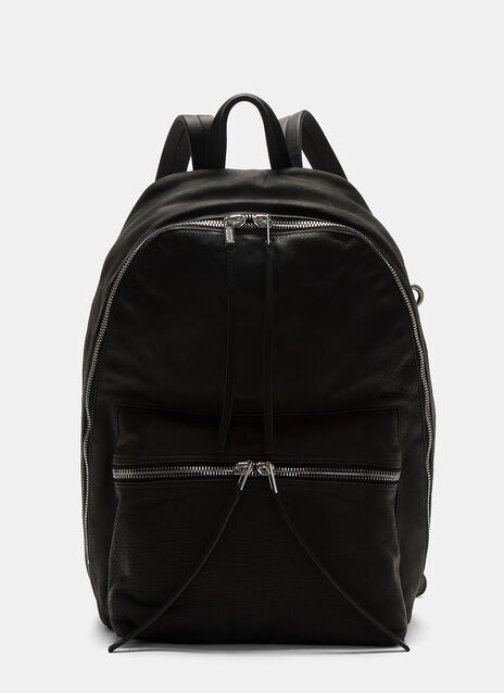 Large Zip-Around Leather Backpack