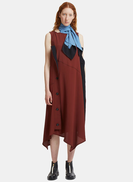 Long Neck Tied Crêpe de Chine Dress