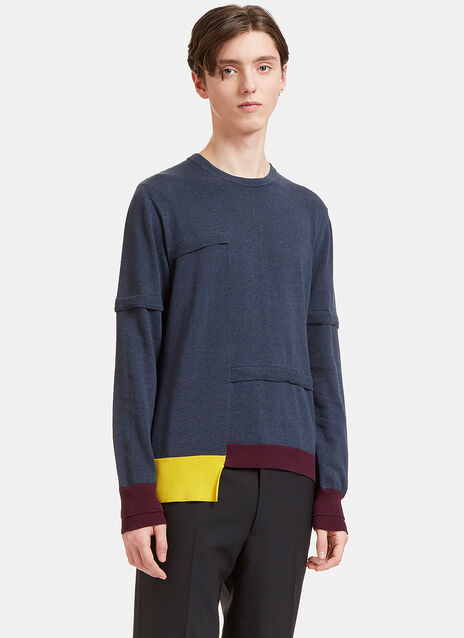 Ribbed Overlay Crew Neck Sweater