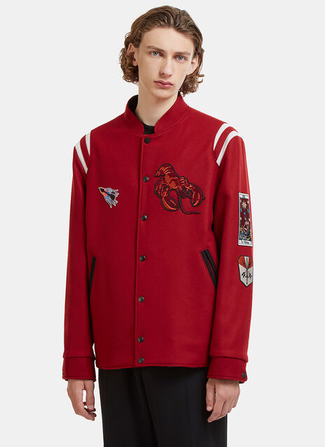 Lanvin Embroidered Patch Teddy Baseball Jacket