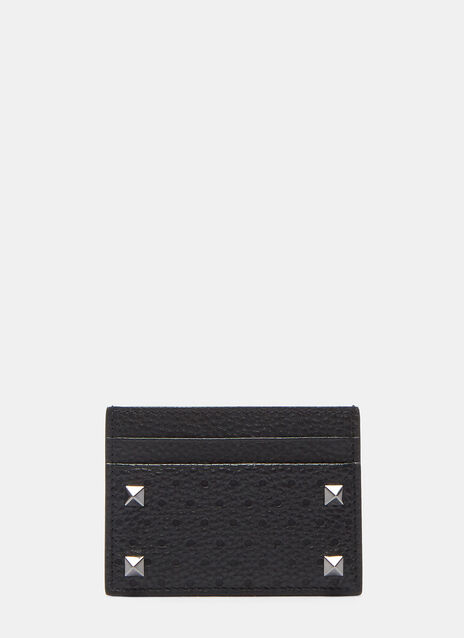 Pyramid Studded Perforated Leather Card Holder