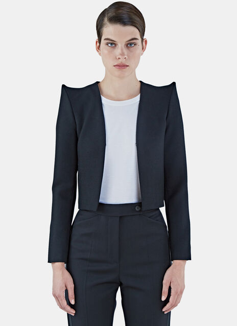 Pointed Shoulder Cropped Tuxedo Jacket