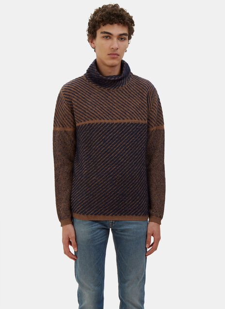 Two-Tone Diagonal Knit Roll Neck Sweater