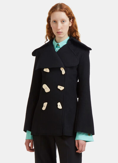 Double-Breasted Wooden Button Felt Jacket