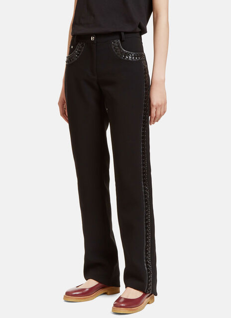 Kurt Leather Whipstitched Straight Leg Pants