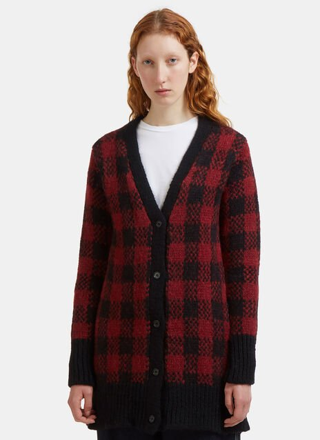 Checked Jacquard Alpaca Knit Cardigan