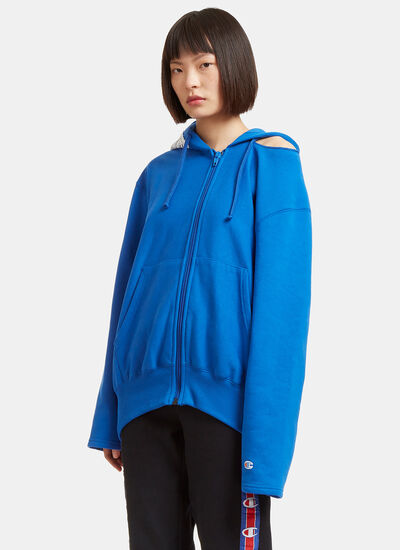 Champion Cut-Out Shoulder Zip-Up Hooded Sweater
