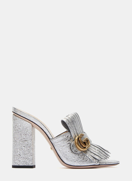 Metallic Fringed Heeled Slide Mules