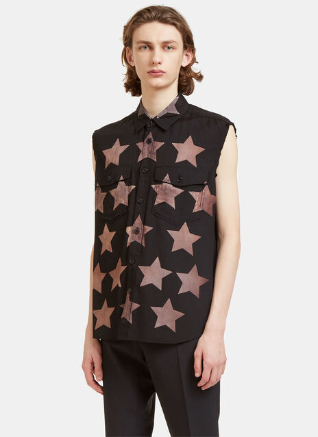 Star Print Sleeveless Shirt