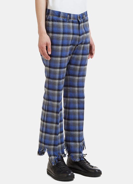 Checked Raw-Edge Fringe Pants