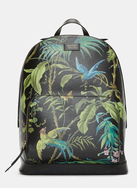 Zaino Botanical Printed Leather Backpack