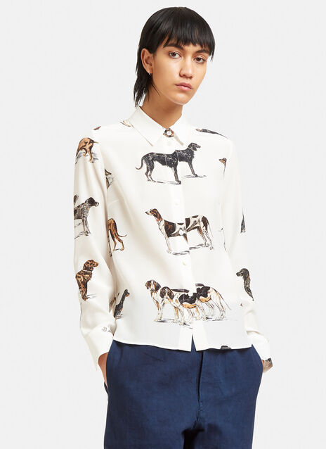 Dog Print Crêpe de Chine Shirt