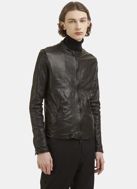 Round Neck Leather Biker Jacket