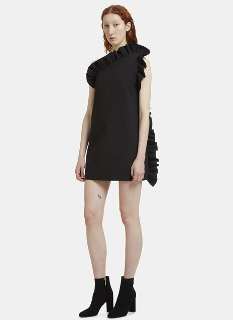 One Shouldered Frilled Dress