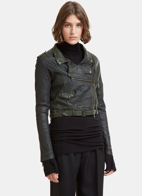 Cropped Biker Leather Jacket