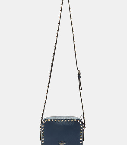 Pyramid-Studded Grained Crossbody Bag
