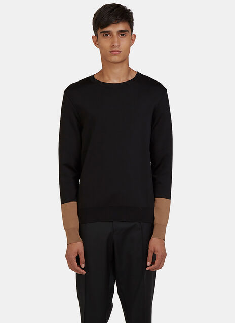 Contrast Cuff Crew Neck Sweater