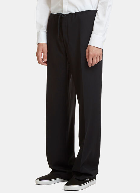 Drawstring Wide Leg Suiting Pants