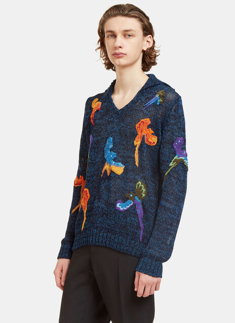 Bird Embroidered Hooded Knit Sweater