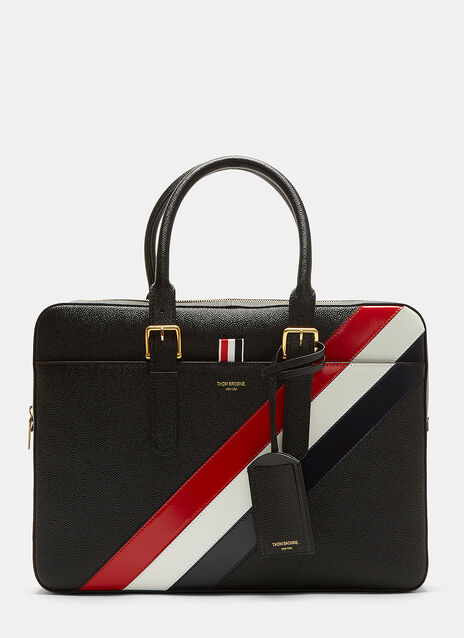Diagonal Striped Grained Briefcase Bag