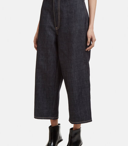 Oversized Cropped Denim Pants in Blue
