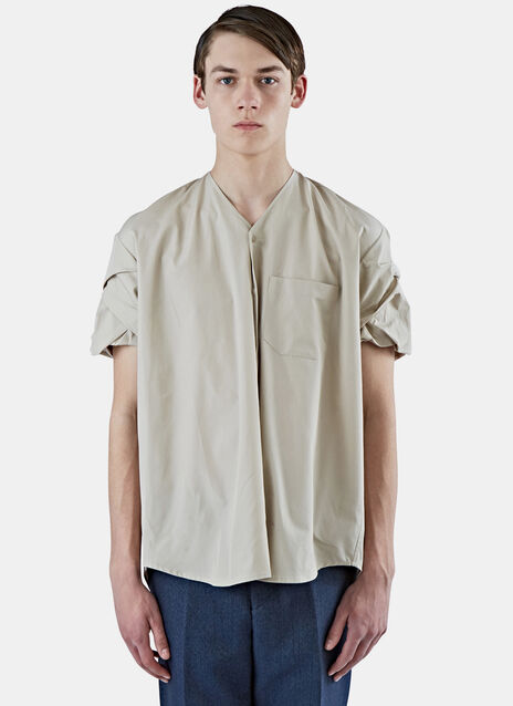 Ruched Sleeve Poplin Shirt