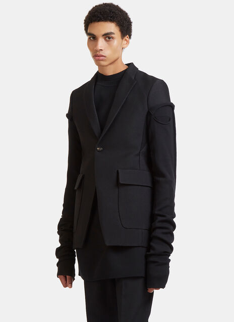 Rick Owens Weakling Long Sleeved Deconstructed Blazer Jacket